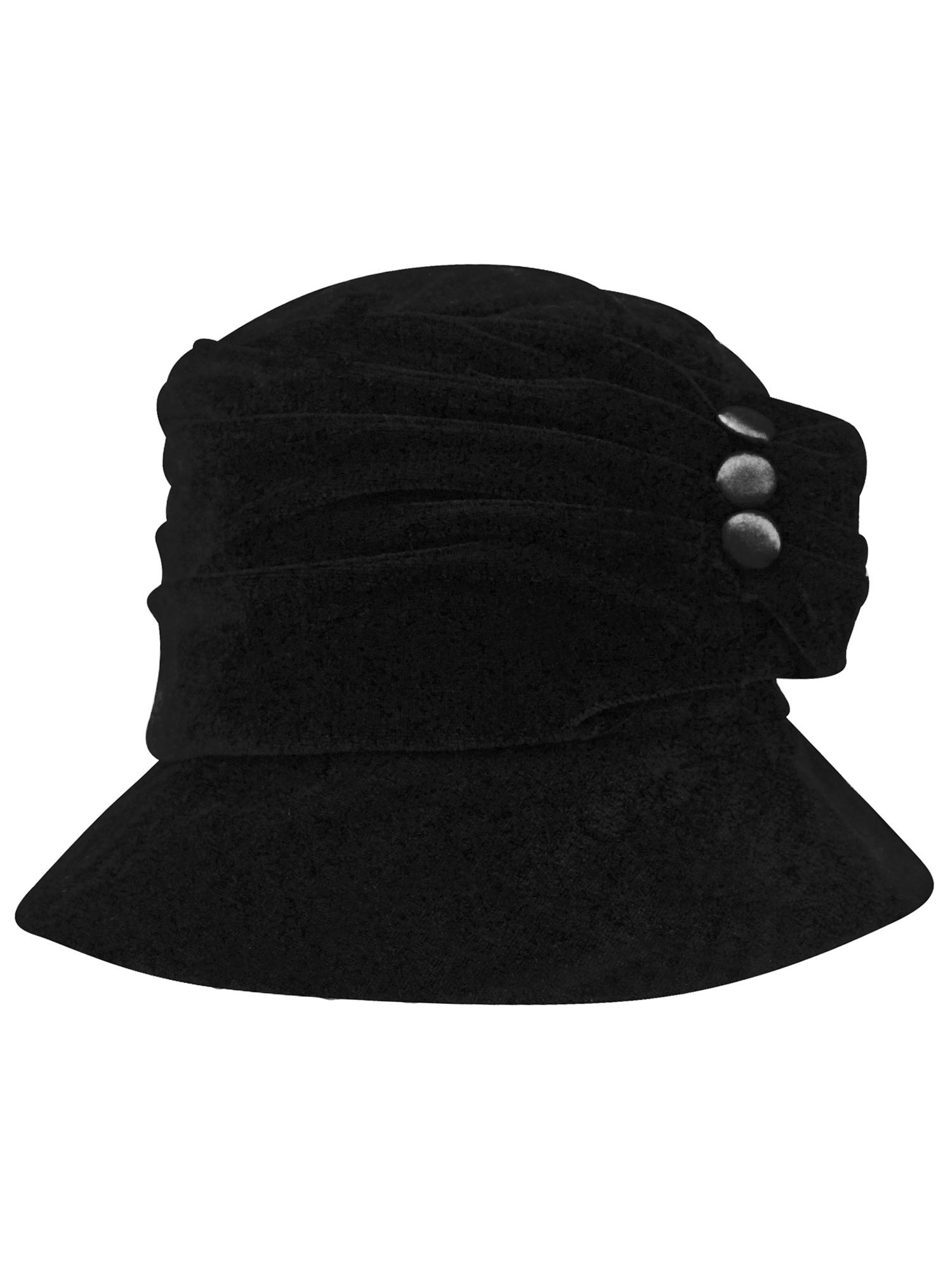 f21970833d7d2 BLACK VELVET BUCKET HAT WITH BUTTON TRIM