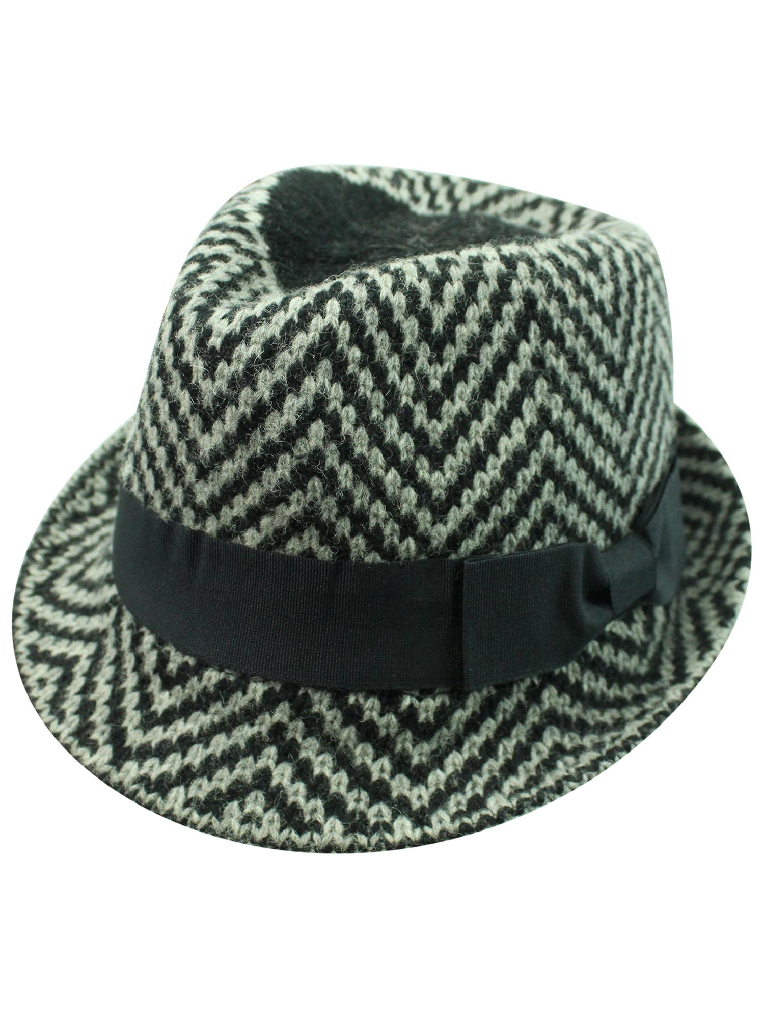 699dba0f5 Details about ZIGZAG ANGORA WOOL FEDORA HAT