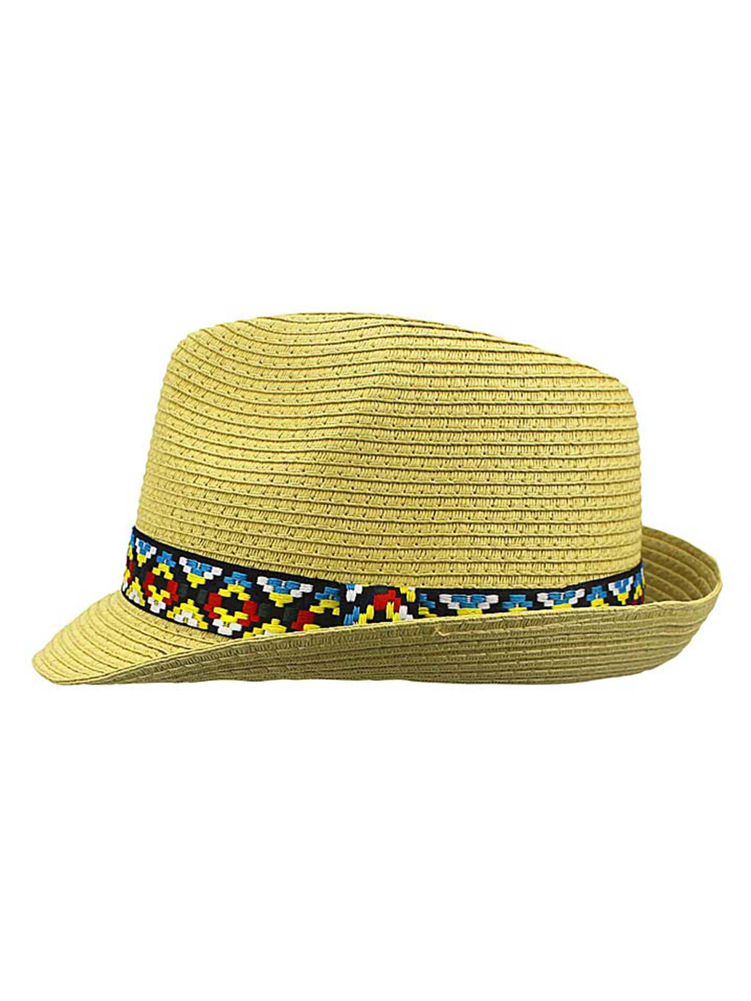 3745440f0 WOVEN STRAW FEDORA HAT WITH AZTEC BAND
