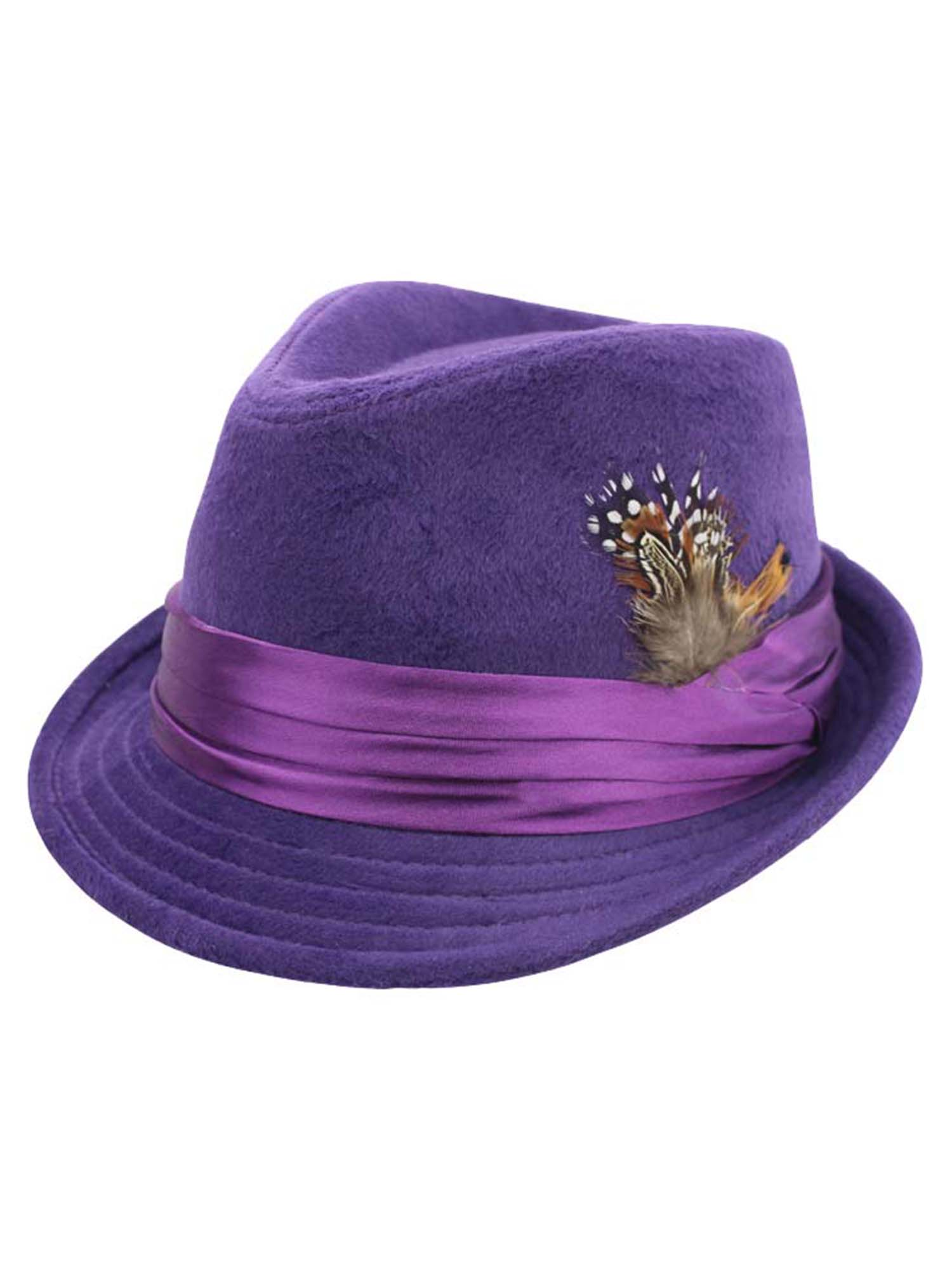 b33b29e11 Details about PURPLE WOOL FELT FEDORA HAT WITH FEATHER TRIM