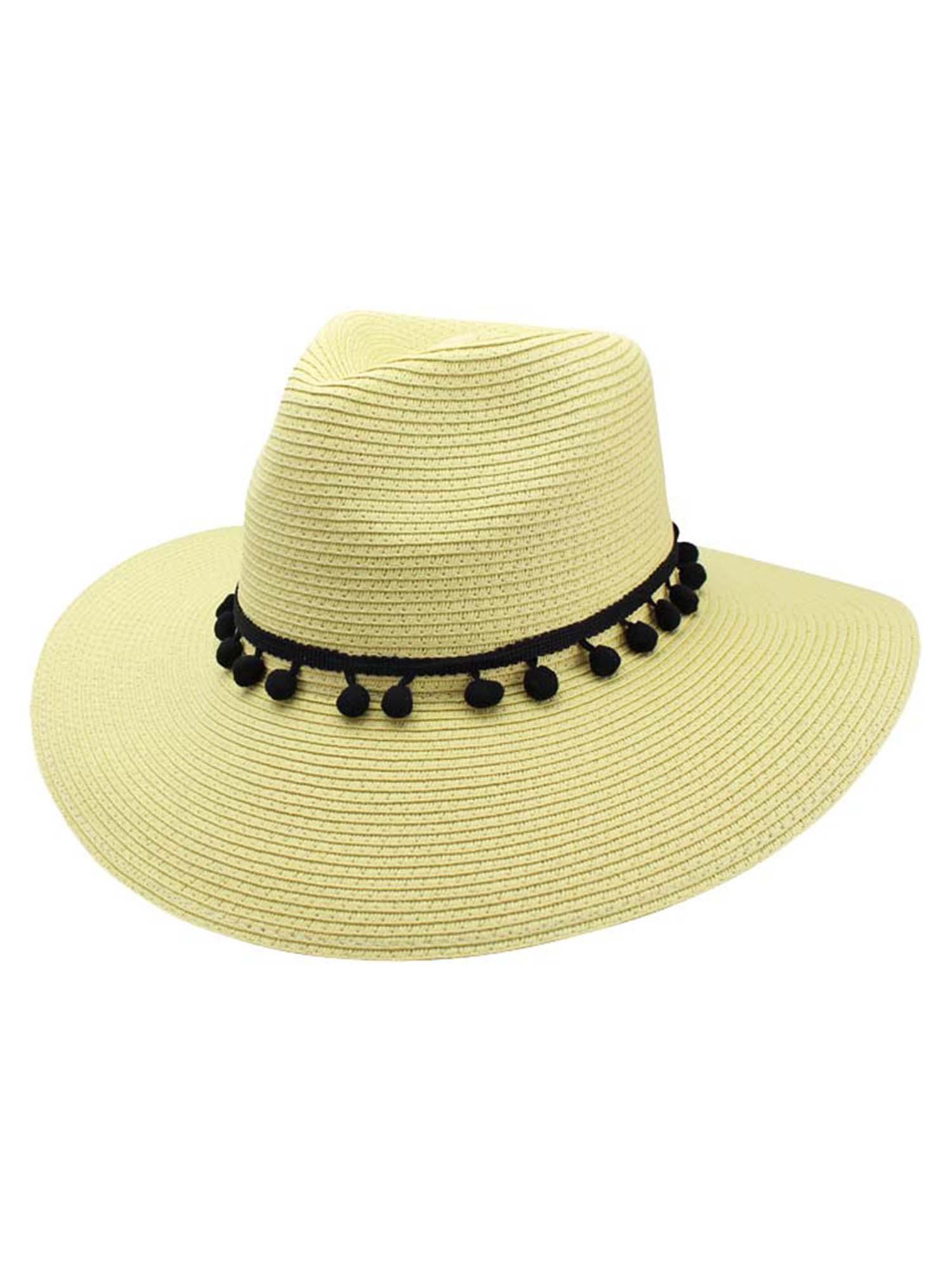 40453566e Details about STRAW PANAMA STYLE SUN HAT WITH POM-POM TRIM