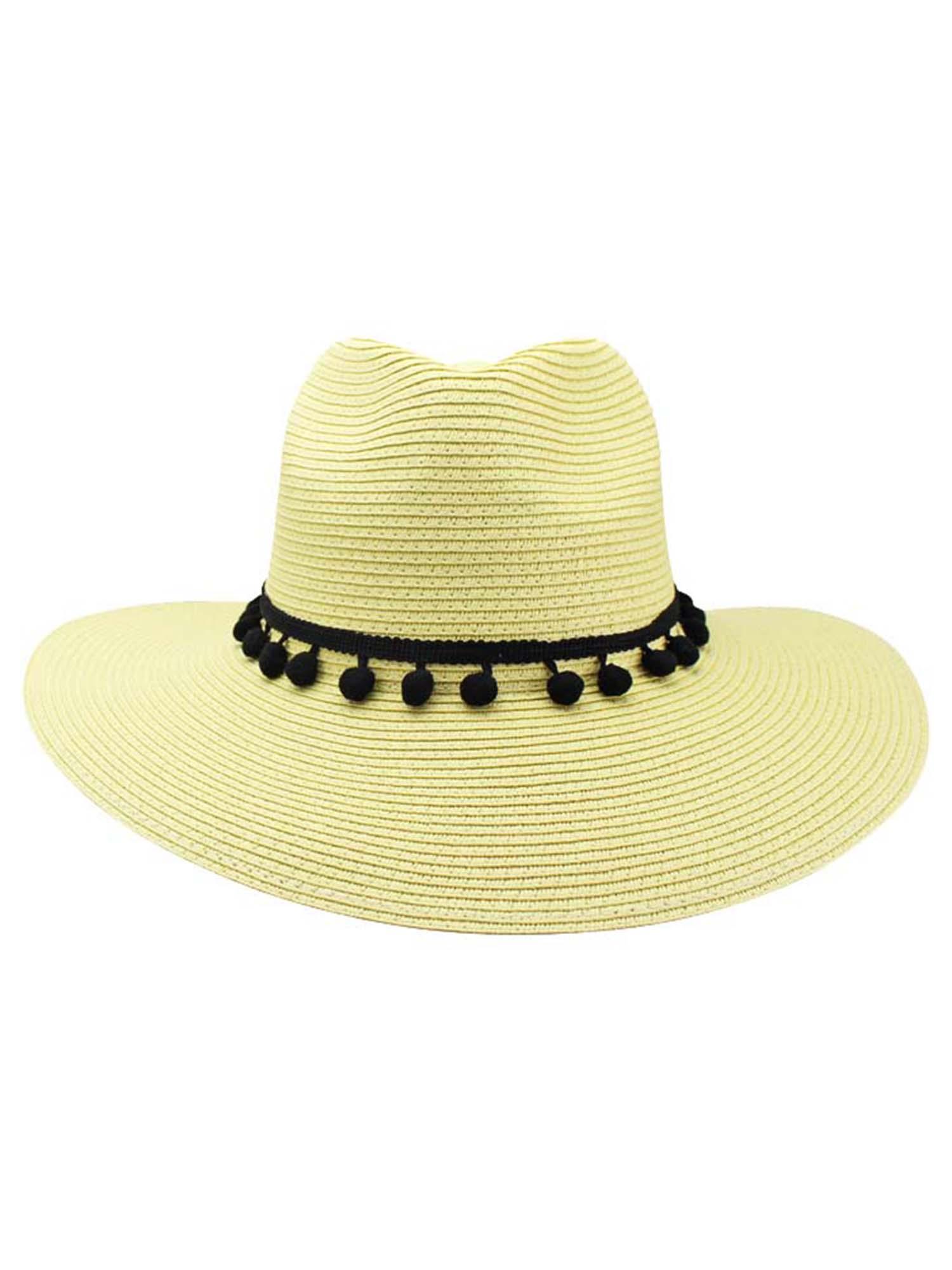 3c54b68f STRAW PANAMA STYLE SUN HAT WITH POM-POM TRIM | eBay