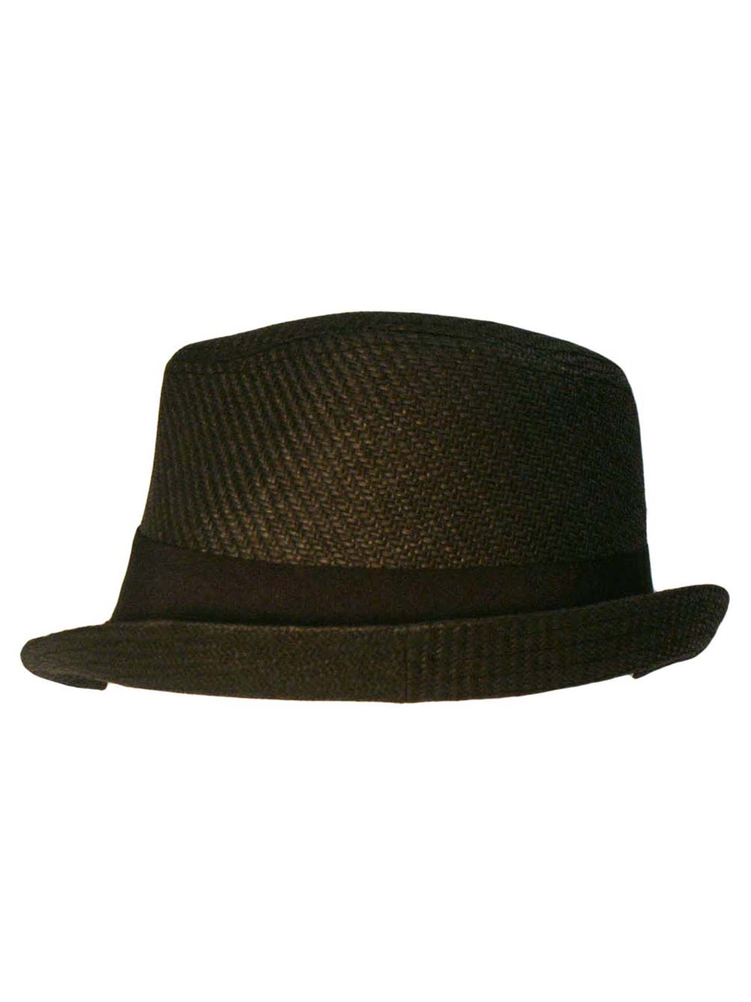 b08c8cf8f193c BLACK FEDORA HAT WITH SLANTED BRIM 706433043965