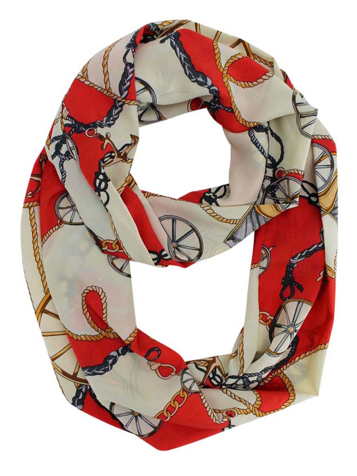 *New Nautical Anchor Infinity Scarf Lightweight Semi Sheer Beach Wrap Scarf NWT