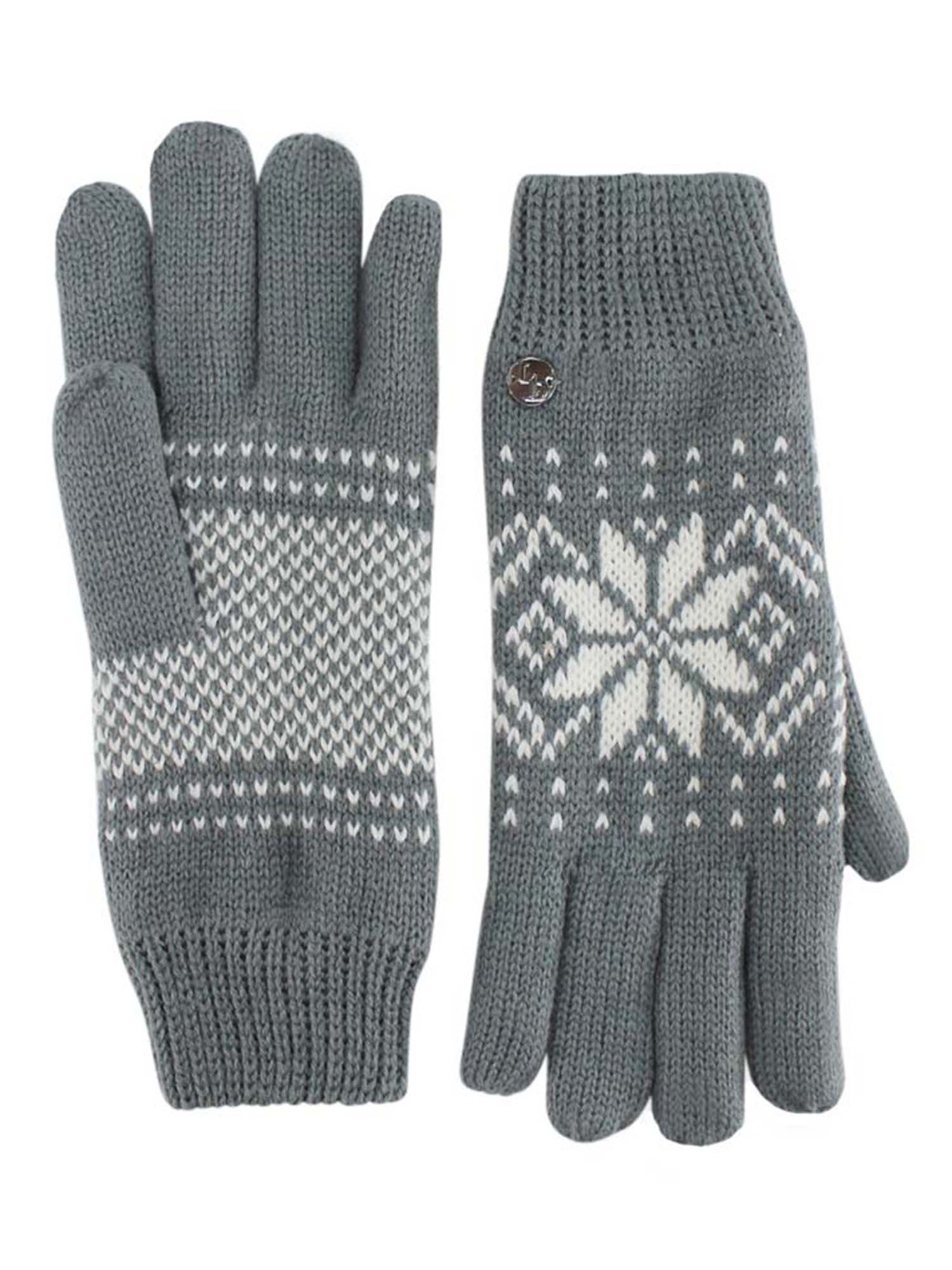 Men/'s Black and White Snowflake Print Thermal Gloves