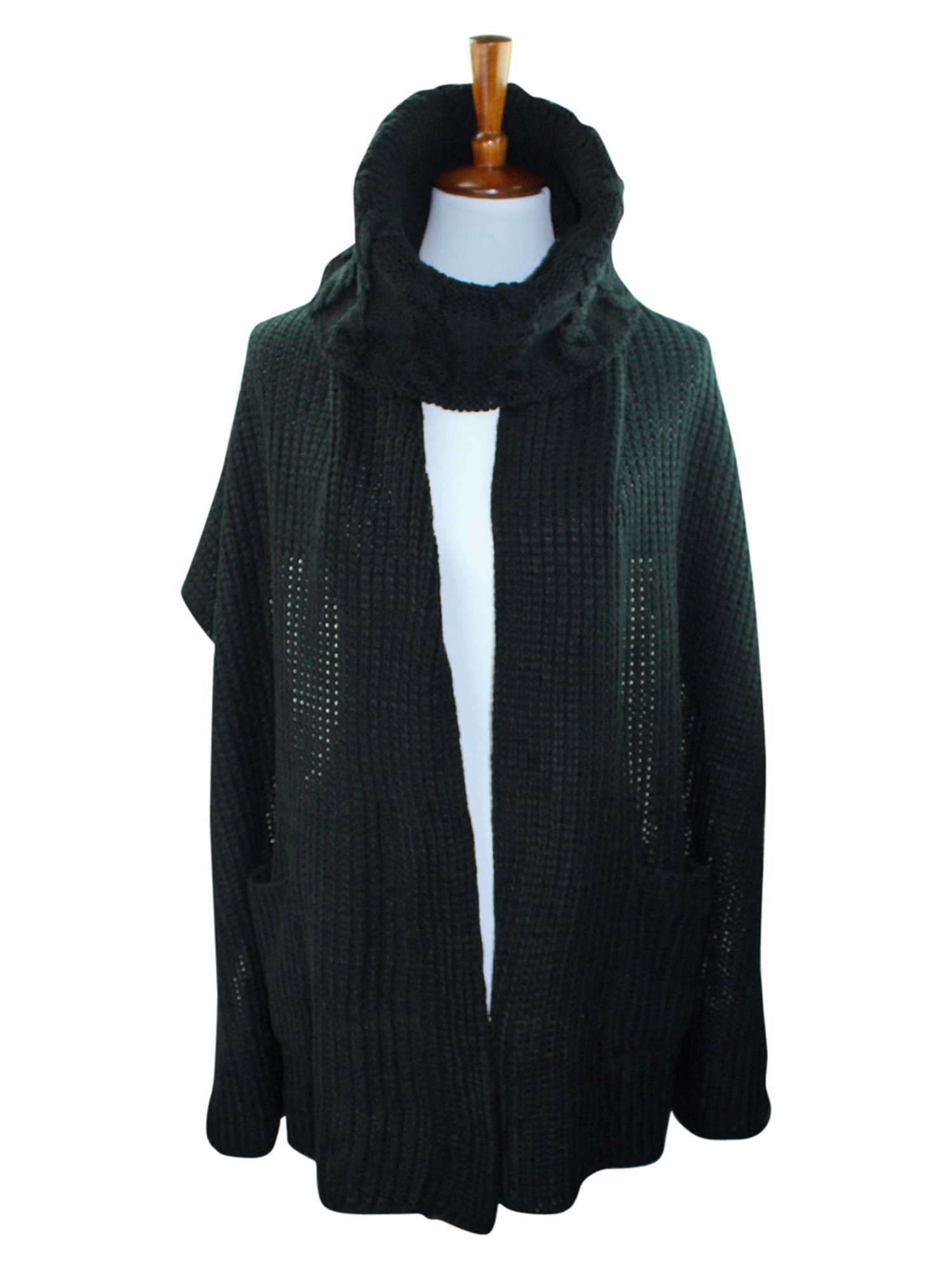 909edcedf CABLE-KNIT-COWL-SCARF-WRAP-WITH-POCKETS thumbnail 4