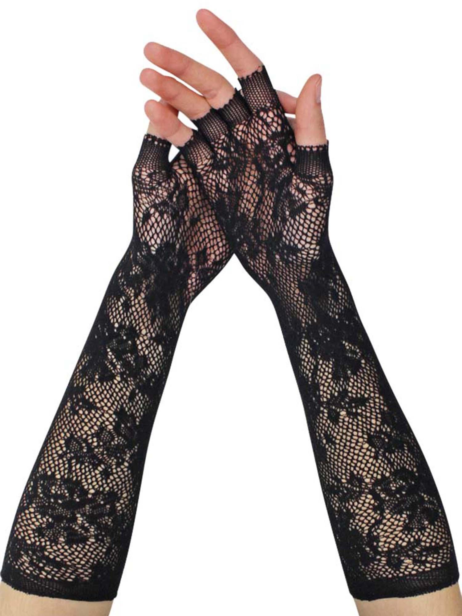 Vintage Orange Wrist Length Nylon Gloves---8 long---Size 6 to 6 12 -Glove Auction #1730-0719