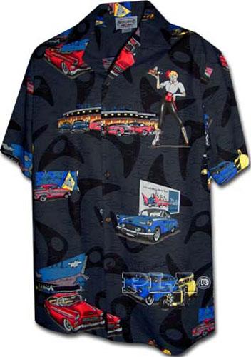 New Mens Hawaiian Shirt American Graffiti Black
