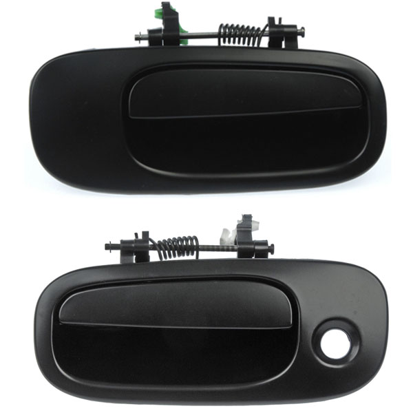 Front Left Driver Right Passenger Smooth Black Outside Door Handles Pair