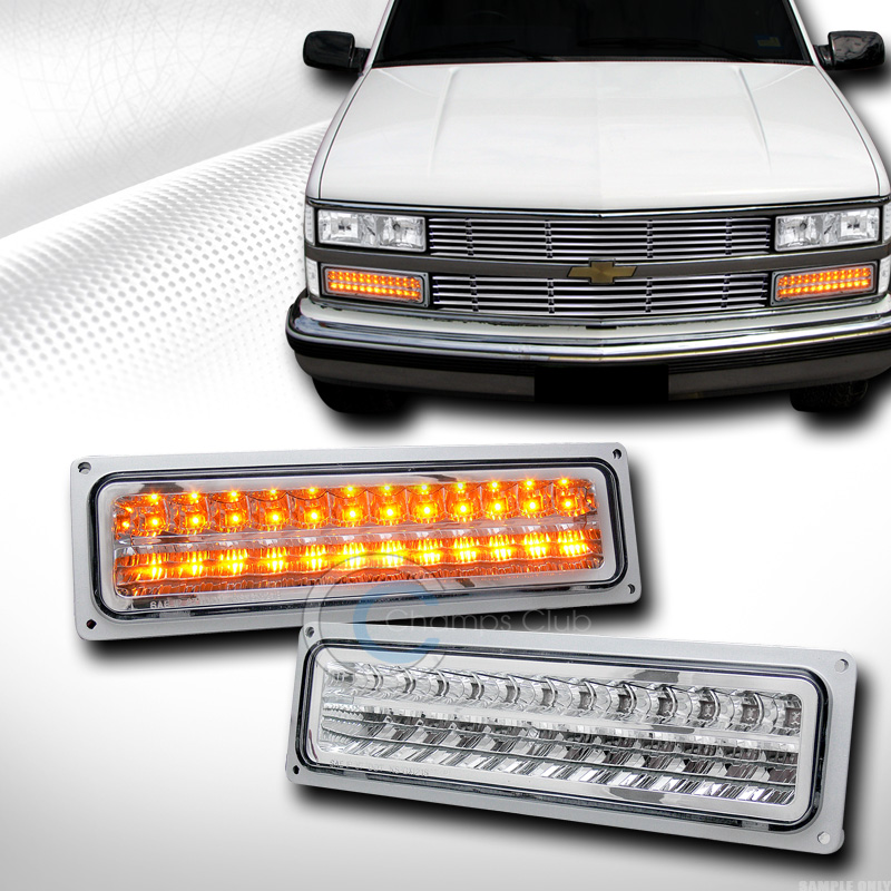 EURO CHROME LED SIGNAL BUMPER LIGHTS LAMPS 1988-2000 CHEVY GMC C10 C/K TRUCK/SUV