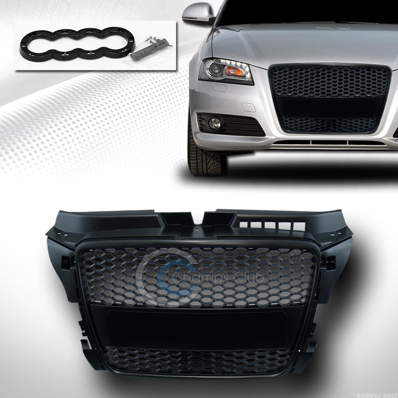 blk rs honeycomb mesh front hood bumper grill grille guard. Black Bedroom Furniture Sets. Home Design Ideas