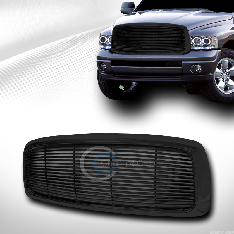 BLACK HORIZONTAL BILLET FRONT HOOD BUMPER GRILL GRILLE COVER ABS 02