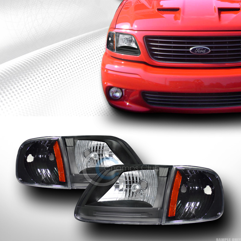 Black Headlights W Signal Parking Corner Amber K2 1997 2003 Ford