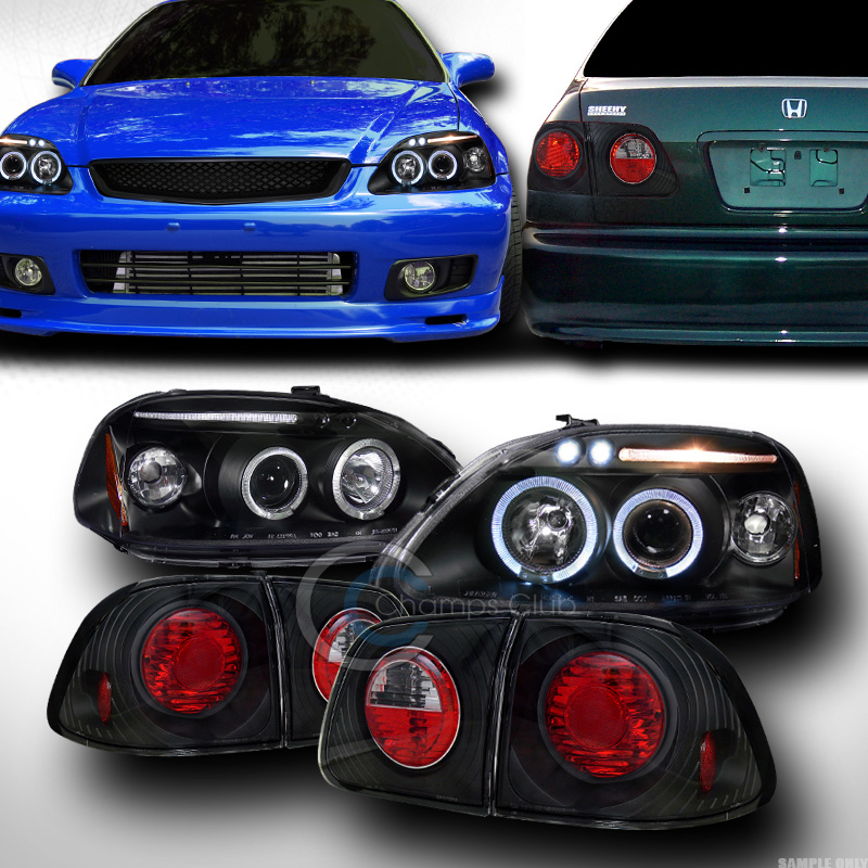 Image Is Loading BLK HALO LED PROJECTOR HEAD LIGHT ALTEZZA TAIL