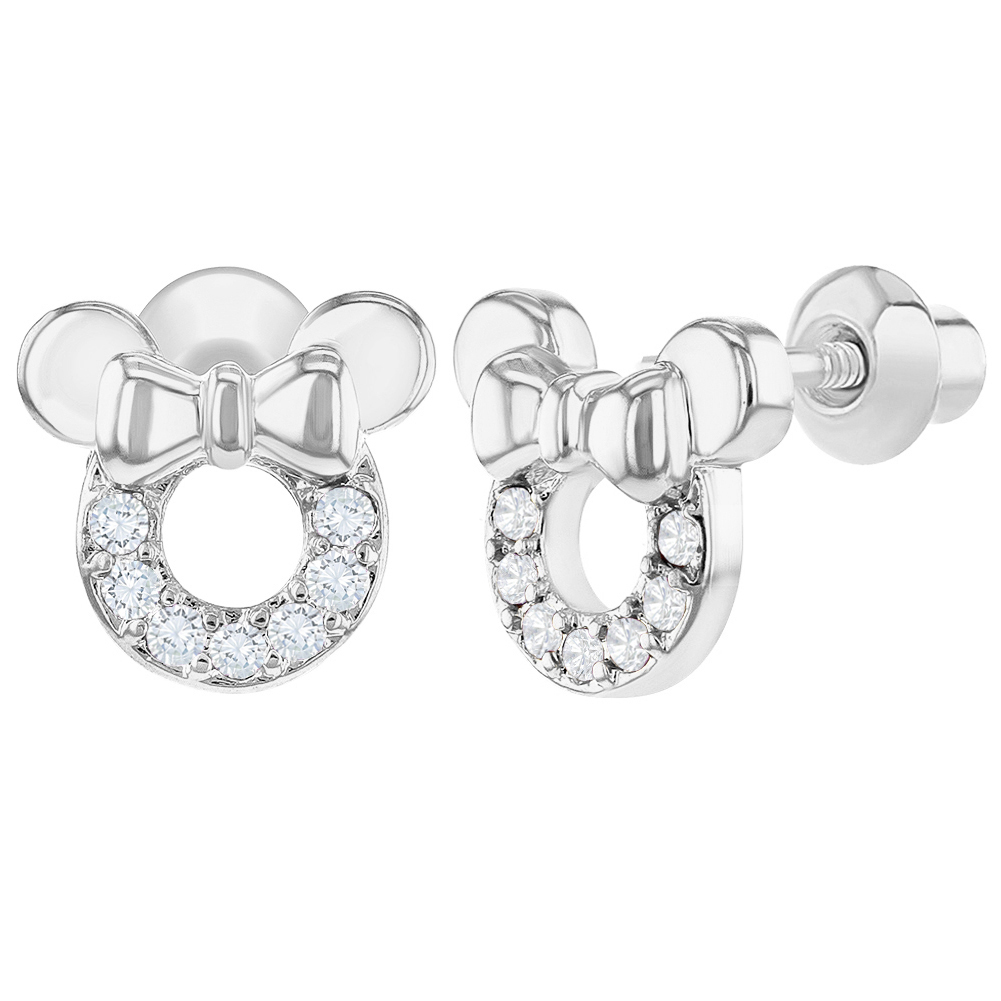 Rhodium Plated Purple CZ Bow Mouse Screw Back Earrings Toddlers Kids Girls