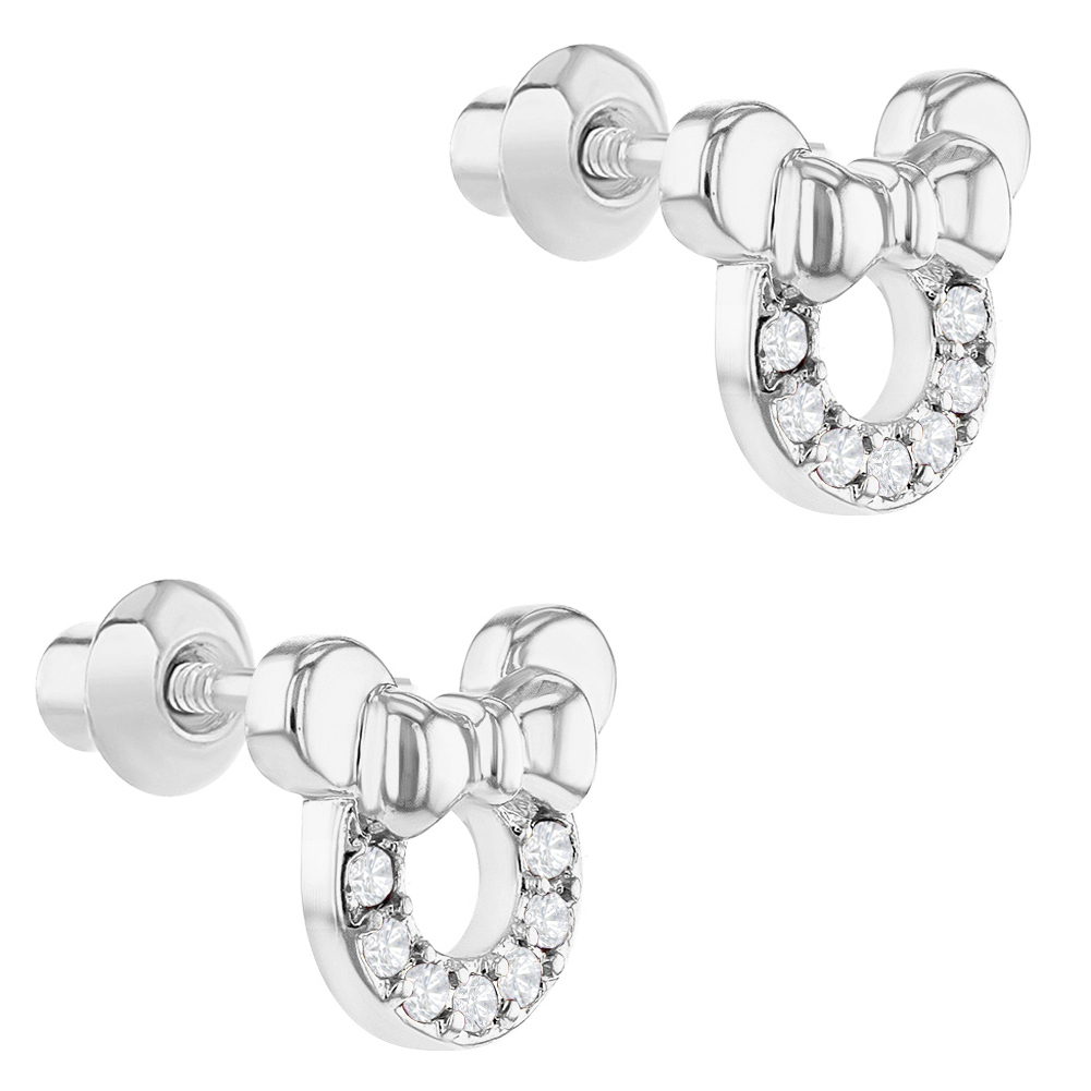 5dd5f8c5c Rhodium Plated Clear Crystal Little Mouse Bow Screw Back Girls Kids Earrings