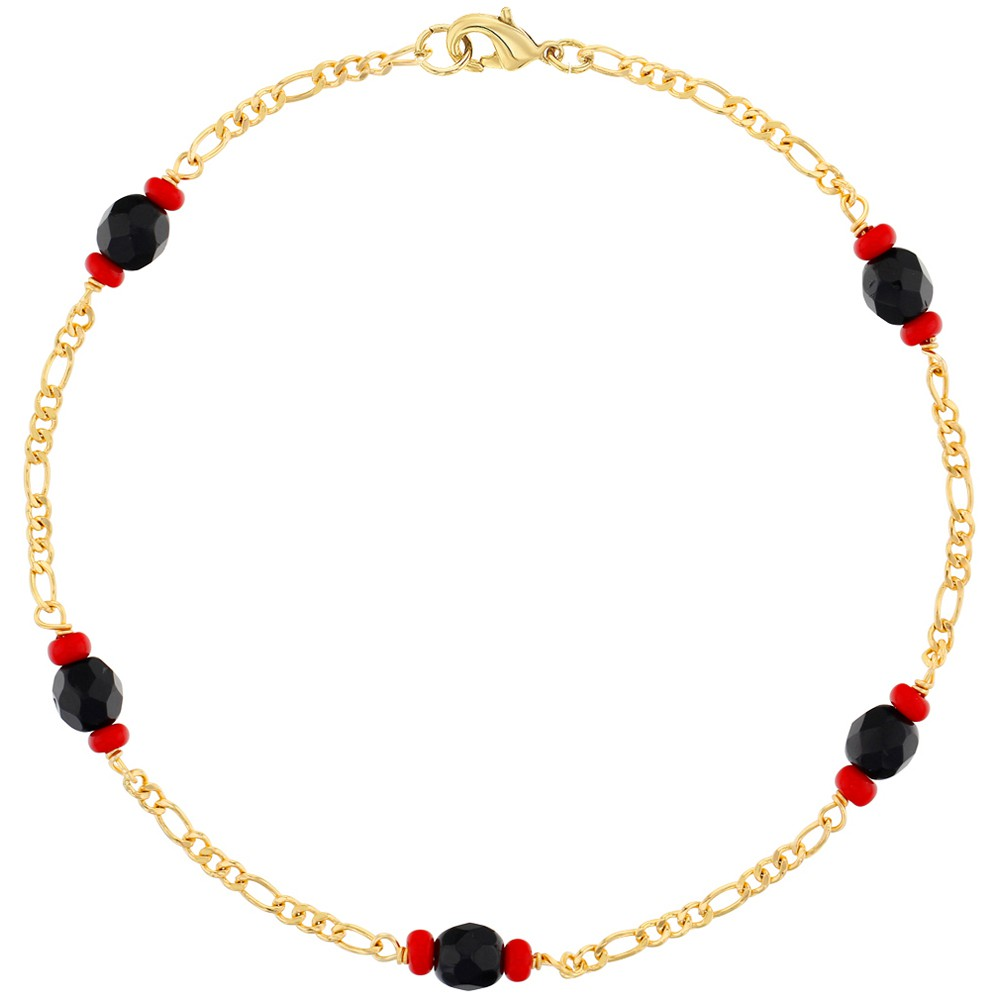 18k Gold Plated Evil Eye Protection Simulated Azabache Charm Anklet 10