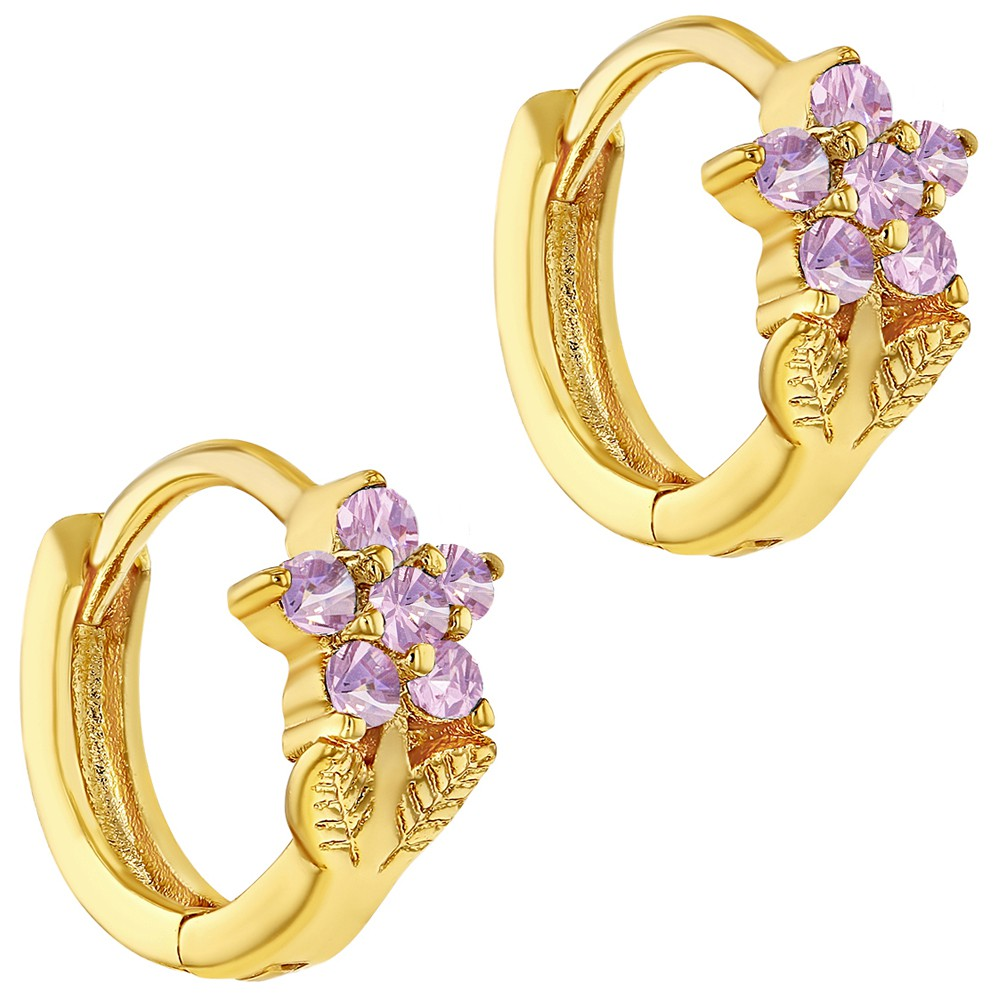 18k Gold Plated Pink Cubic Zirconia Flower Huggie Small ...