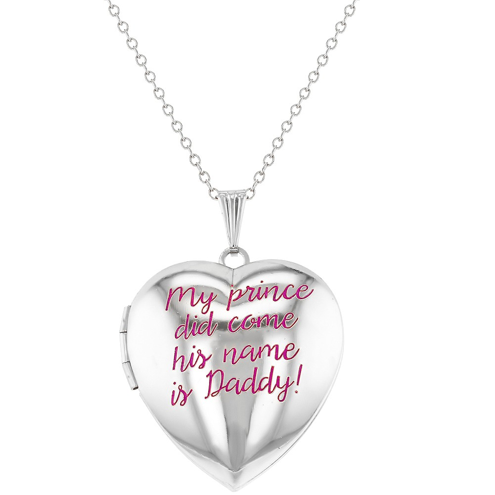 In Season Jewelry Princess Girl and Hero Daddy Pink Heart Photo Locket Girls Pendant Necklace 16