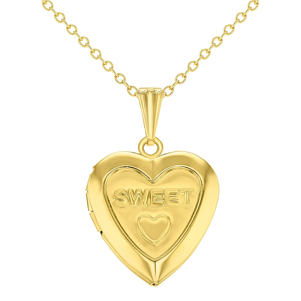 Gold Tone Sweet Love Heart Small Locket Girls Kids Pendant