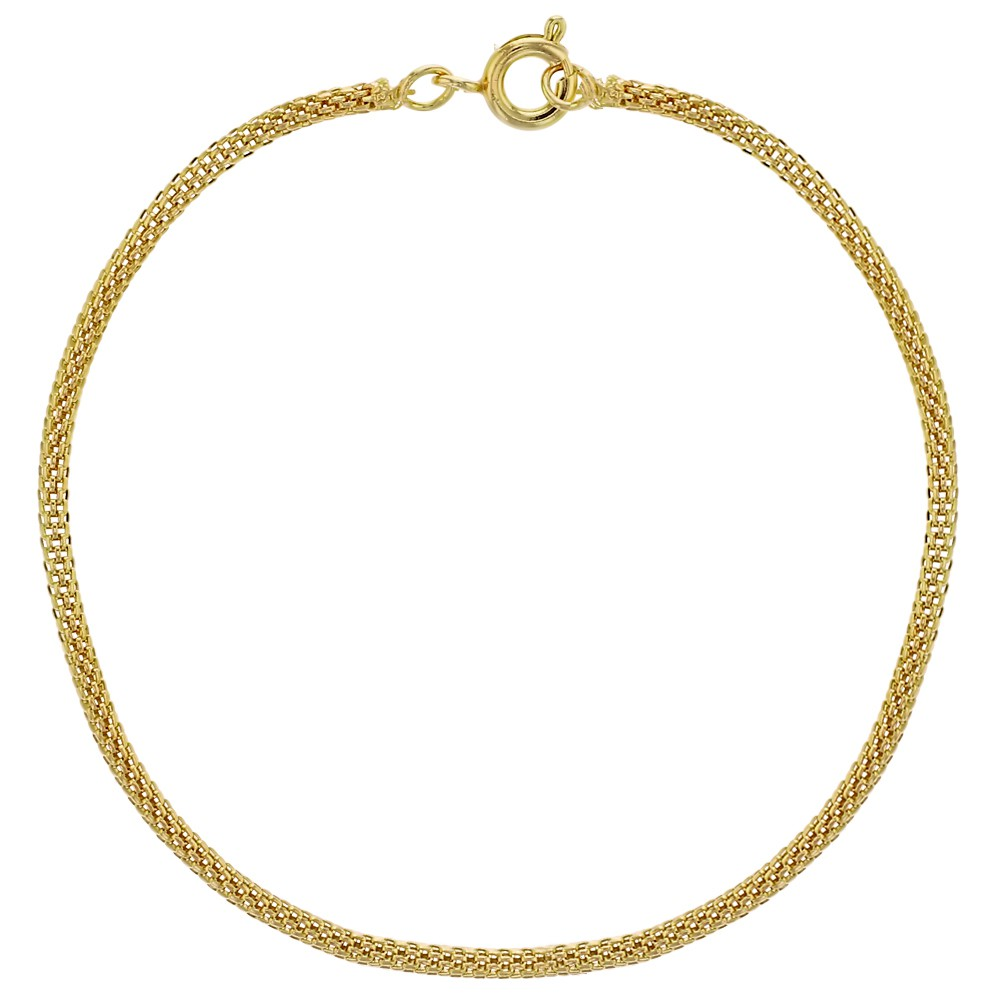 18k Gold Plated Thin Mesh Tube Chain Women Bracelet 7.5