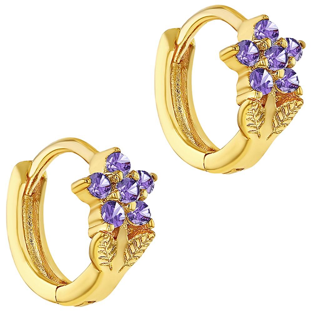 18k Gold Plated Flower Purple Crystal Small Hoop Huggie Kids Girls ...