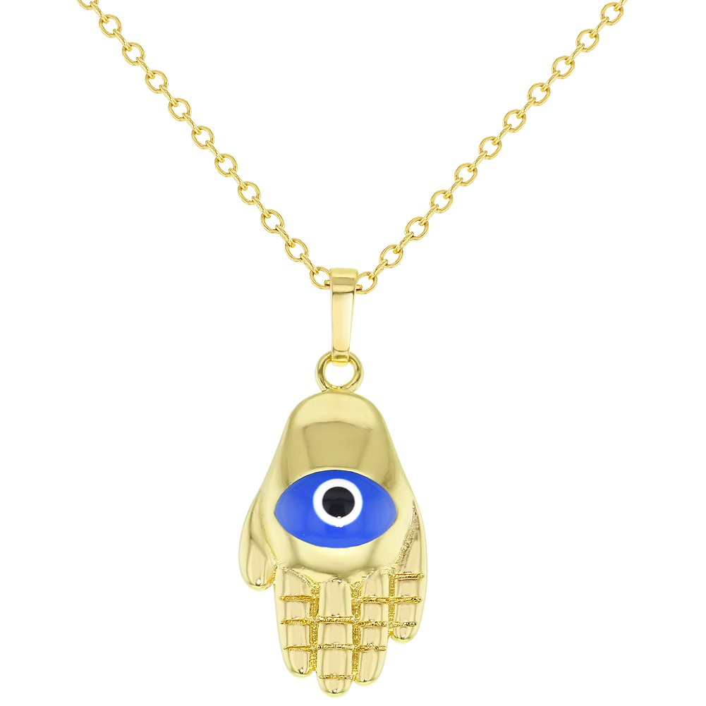 Gold Tone Blue Turkish Evil Eye Hamsa Hand Protection Pendant Necklace 19