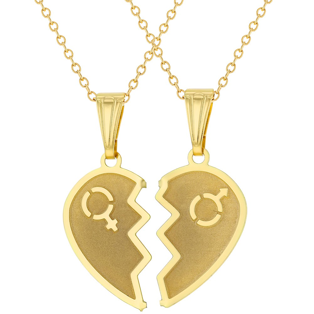 a07a8a6b44 Details about 18k Gold Plated Split Heart Necklace for Couples Pendant Love  19