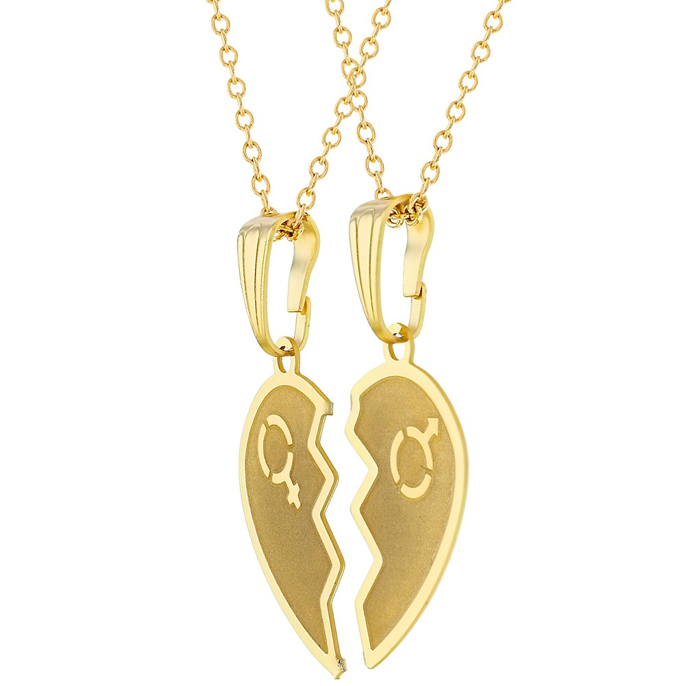 f1d1d3cfc7 18k Gold Plated Split Heart Necklace for Couples Pendant Love 19 ...