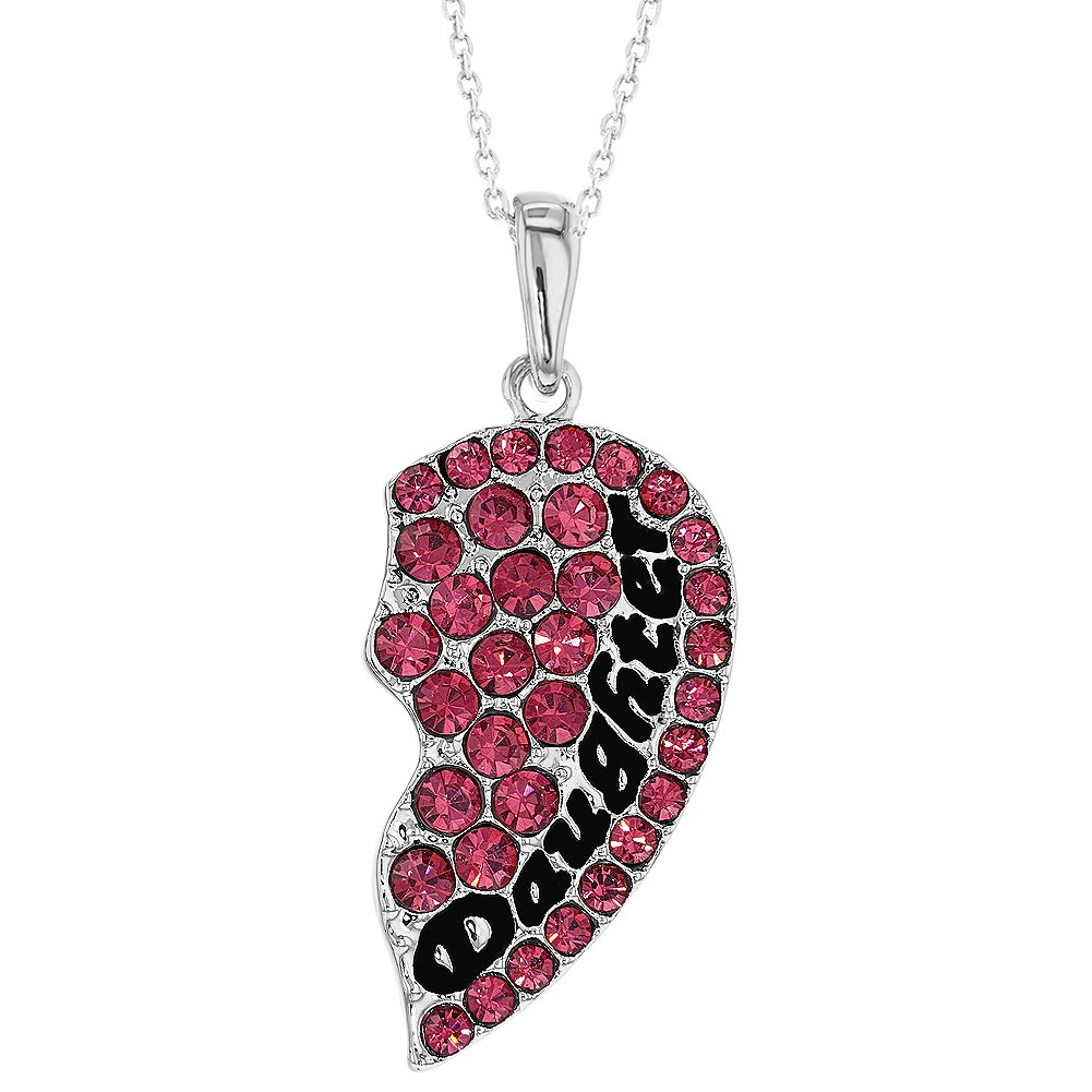 Mother Daughter Heart Necklace Set Pink Crystal Pendants ...