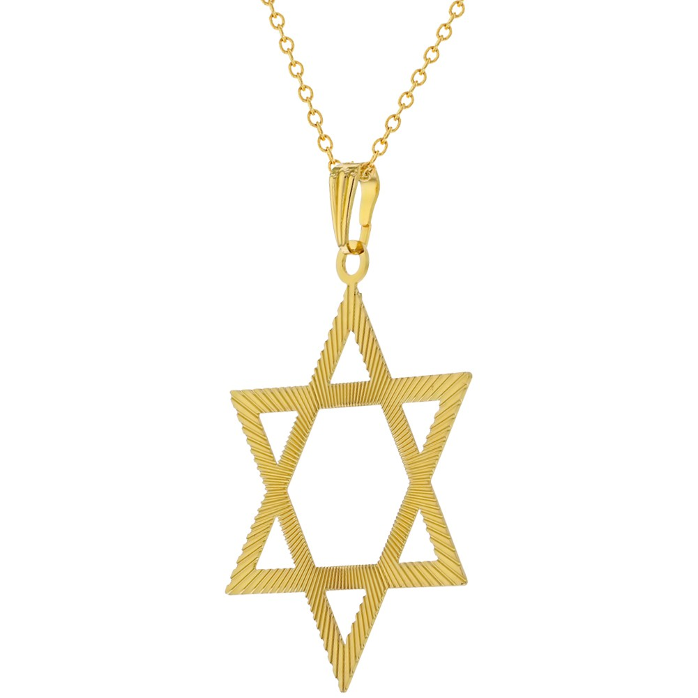 18k gold plated large thin star of david pendant jewish for Star of david necklace mens jewelry