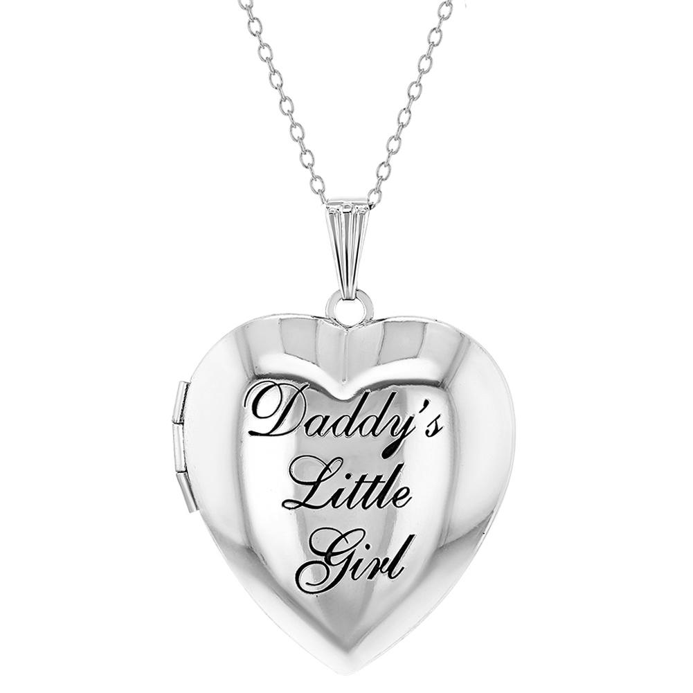 In Season Jewelry Love Two Hearts Small Memory Heart Photo Locket Girls Necklace Pendant 19