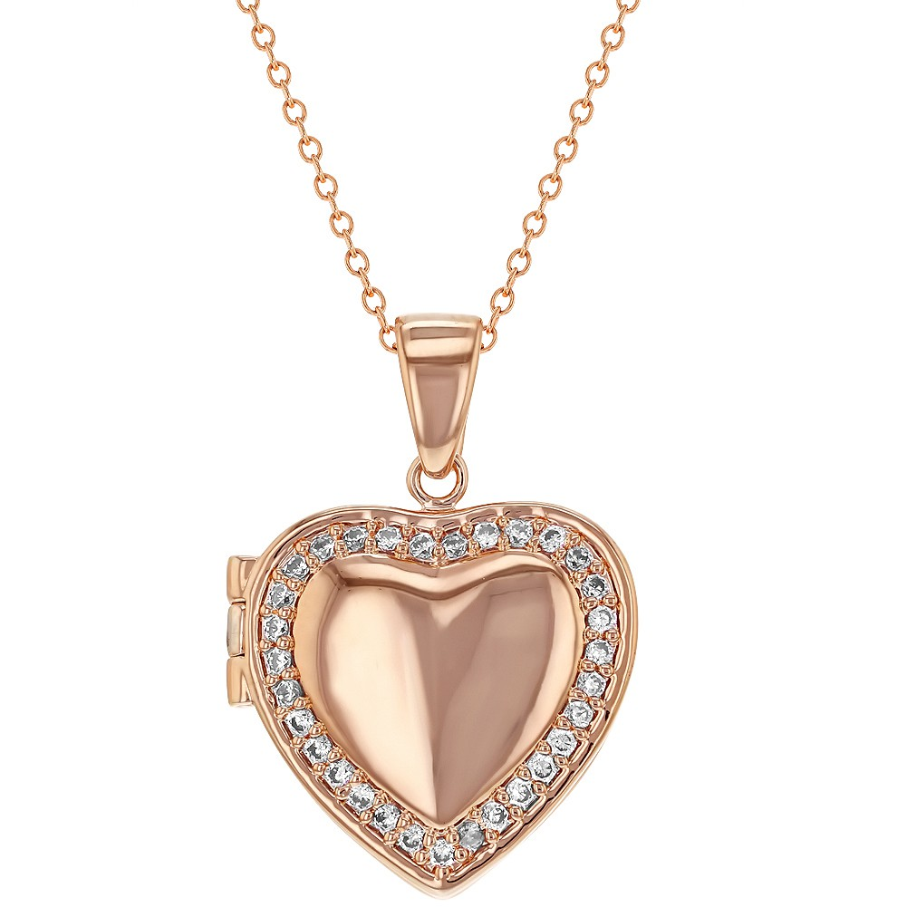 Rose Gold Plated Clear CZ Heart Shaped Locket Necklace ...
