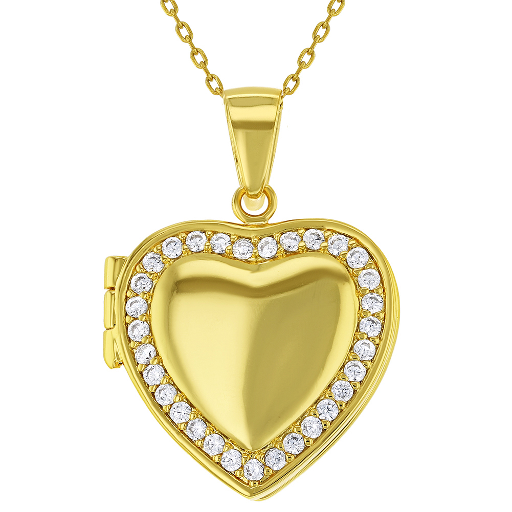 18k Gold Plated Clear Cz Heart Shaped Locket Pendant Necklace Girls Teens 19 638872414917 Ebay