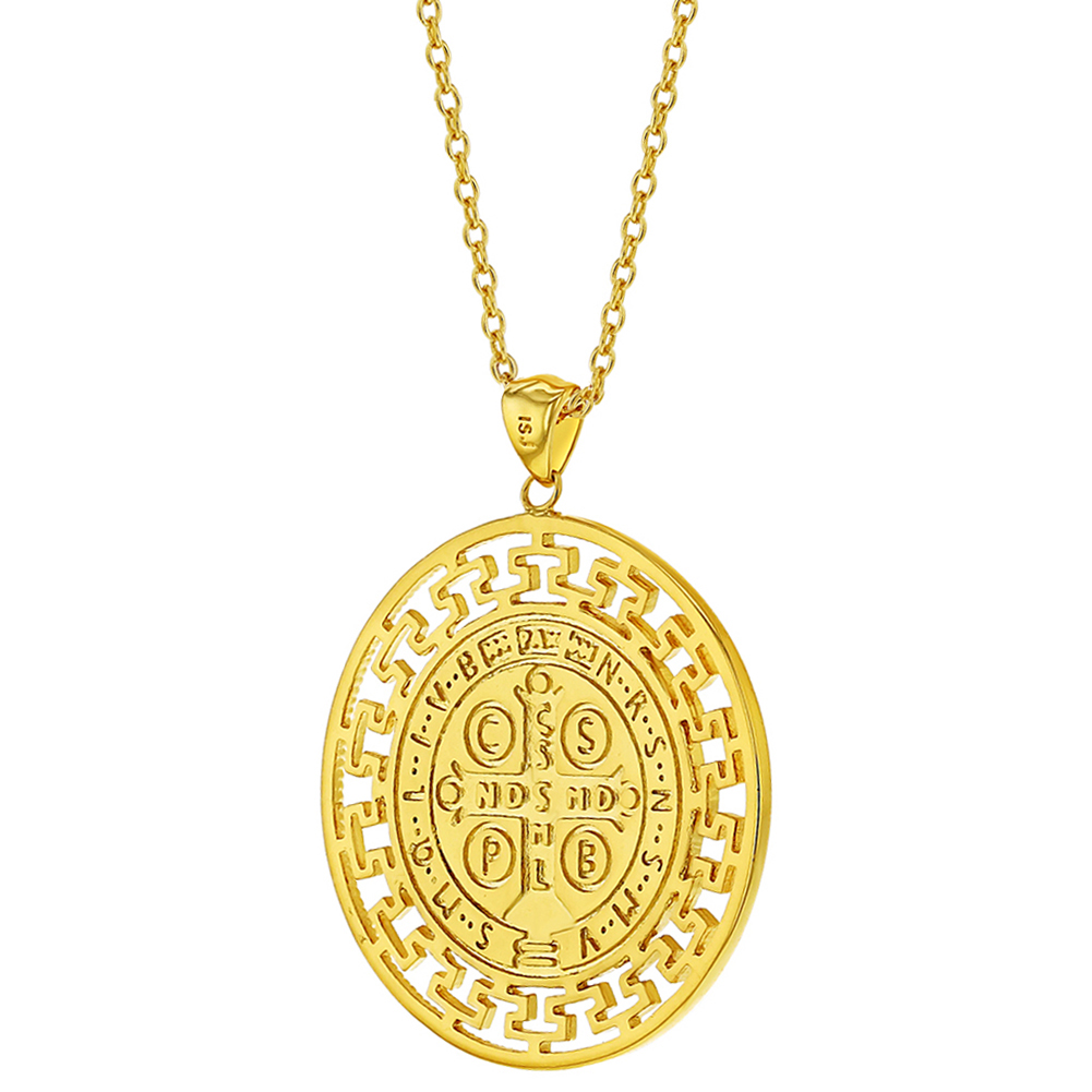 605c661b9ad 18k Gold Plated St Benedict Medal Catholic Protection Pendant Necklace 19