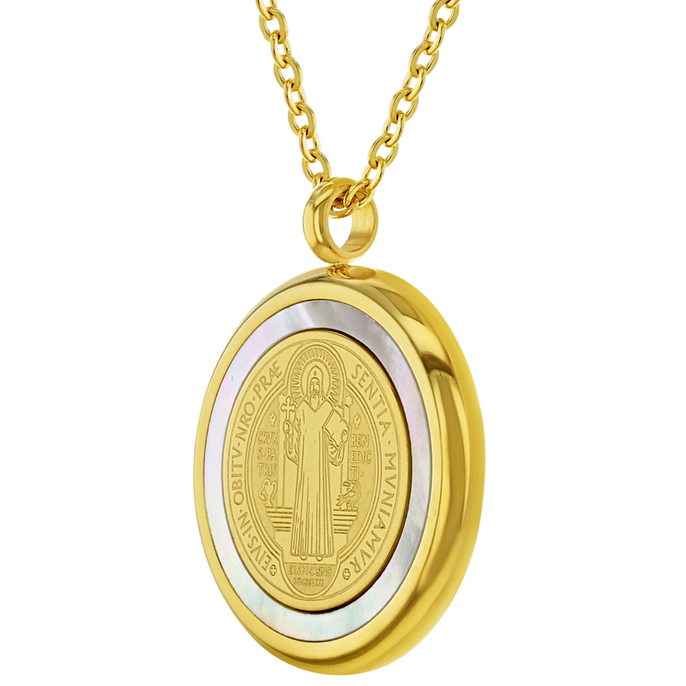 """miniature 7 - Stainless Steel Saint Benedict Protection Catholic Medal Pendant Necklace 19"""""""