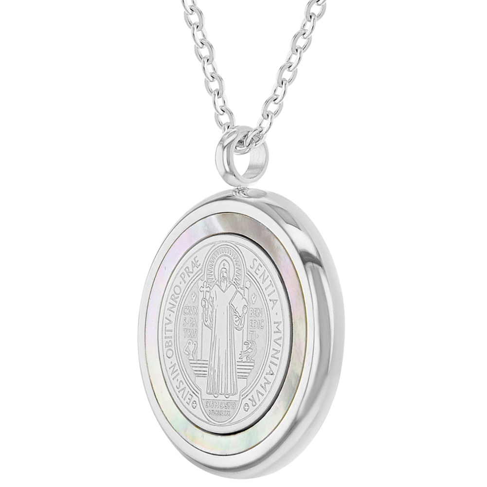 """miniature 12 - Stainless Steel Saint Benedict Protection Catholic Medal Pendant Necklace 19"""""""