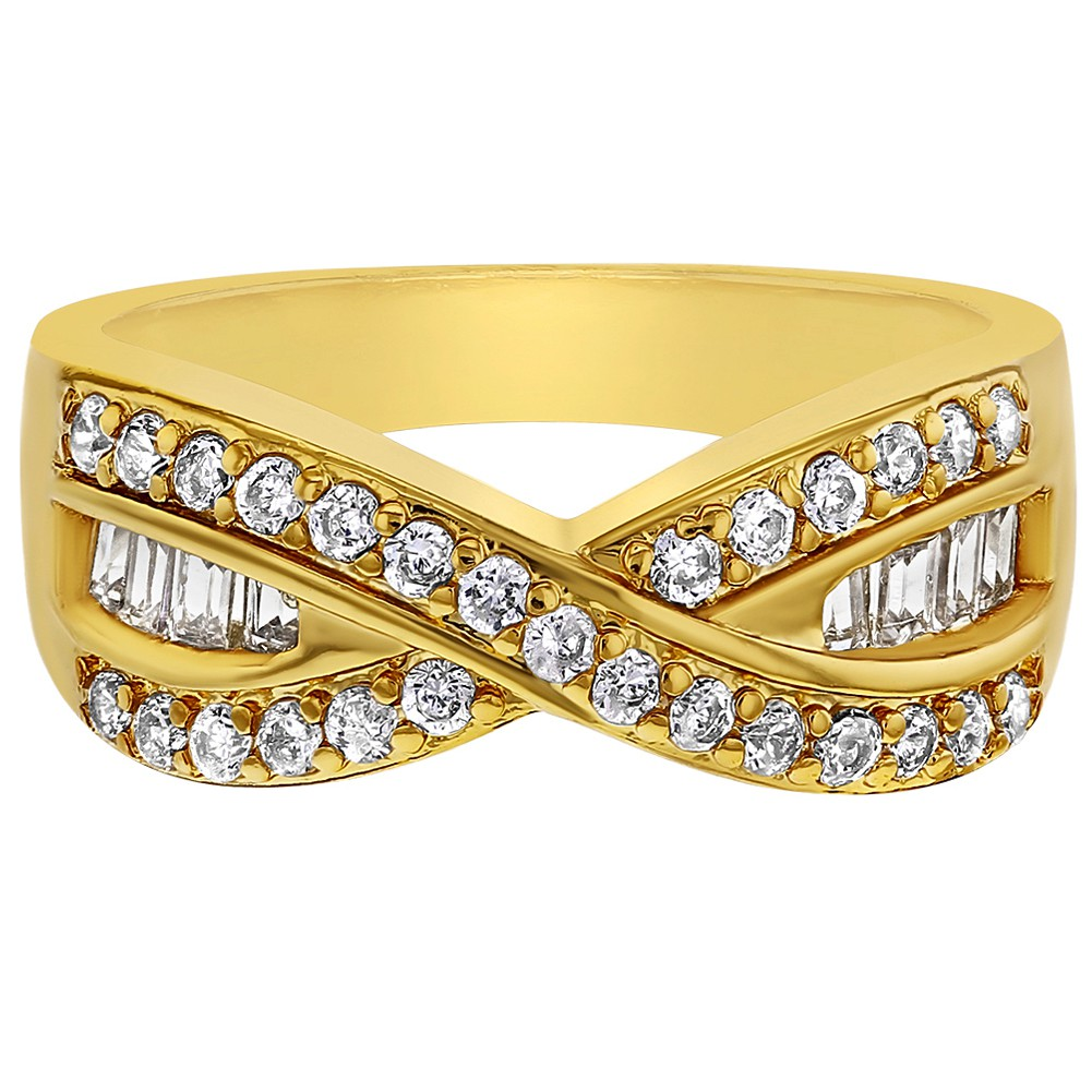 6376c4f02e1 Details about 18k Gold Plated Clear Crystal Infinity Twisted Women s  Fashion Rings
