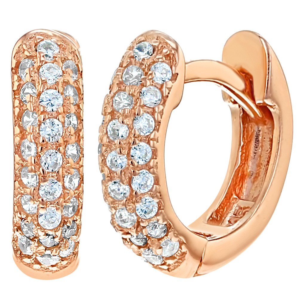 Rose Gold Flashed 925 Sterling Silver Cz Small Huggie Hoop Earrings Girls  039