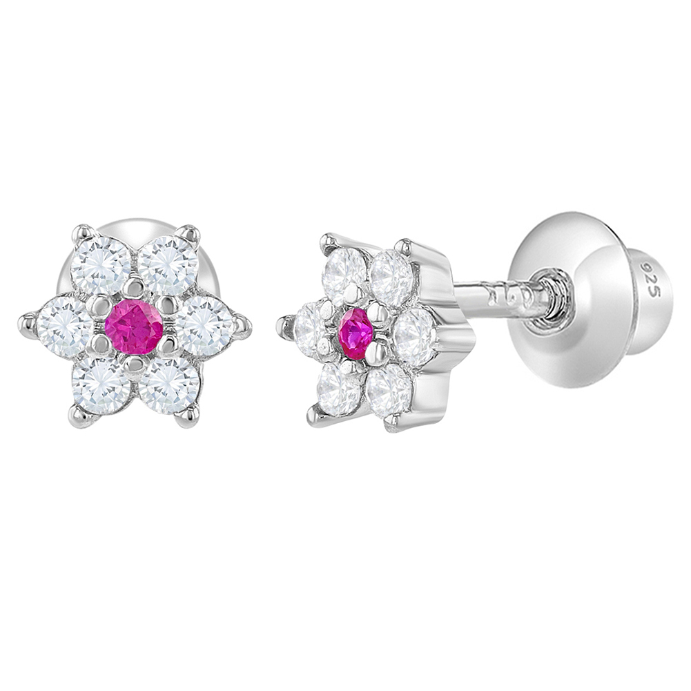 c05f01525 925 Sterling Silver Flower Screw Back Baby Earrings Girls Kids Clear Pink CZ.  Product Details. Brand. In Season Jewelry