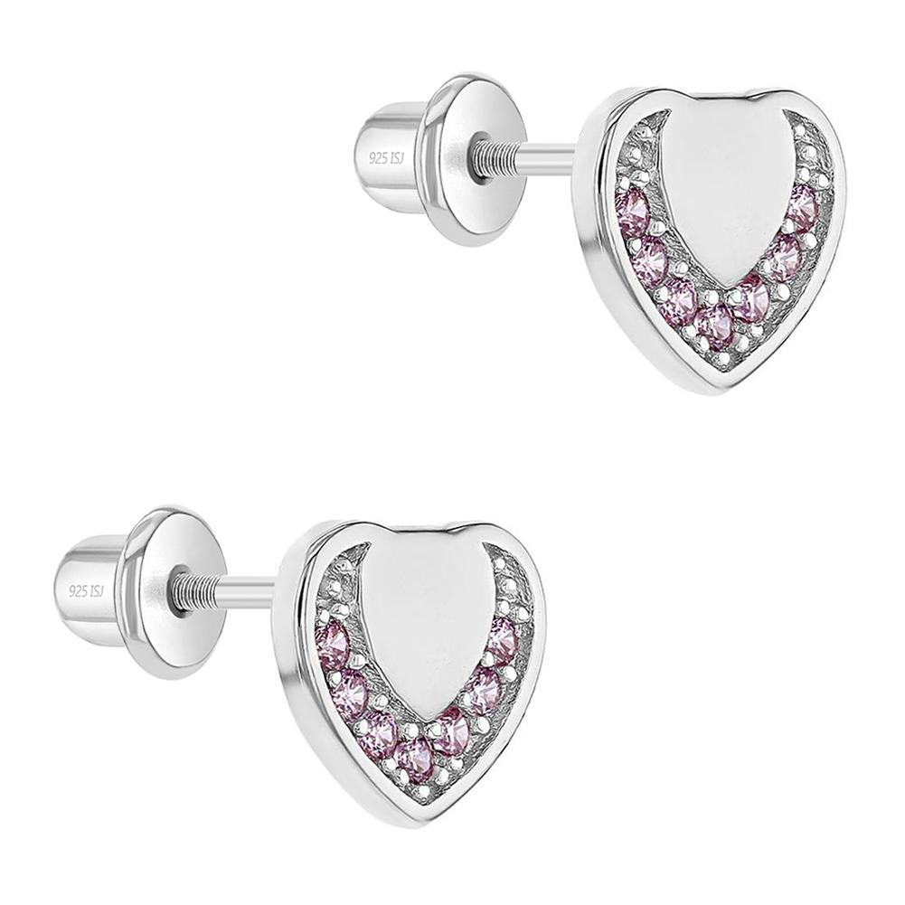 Nuevo 925 Sterling plata corazón circonita pendientes ohrringer regalos niños rosa