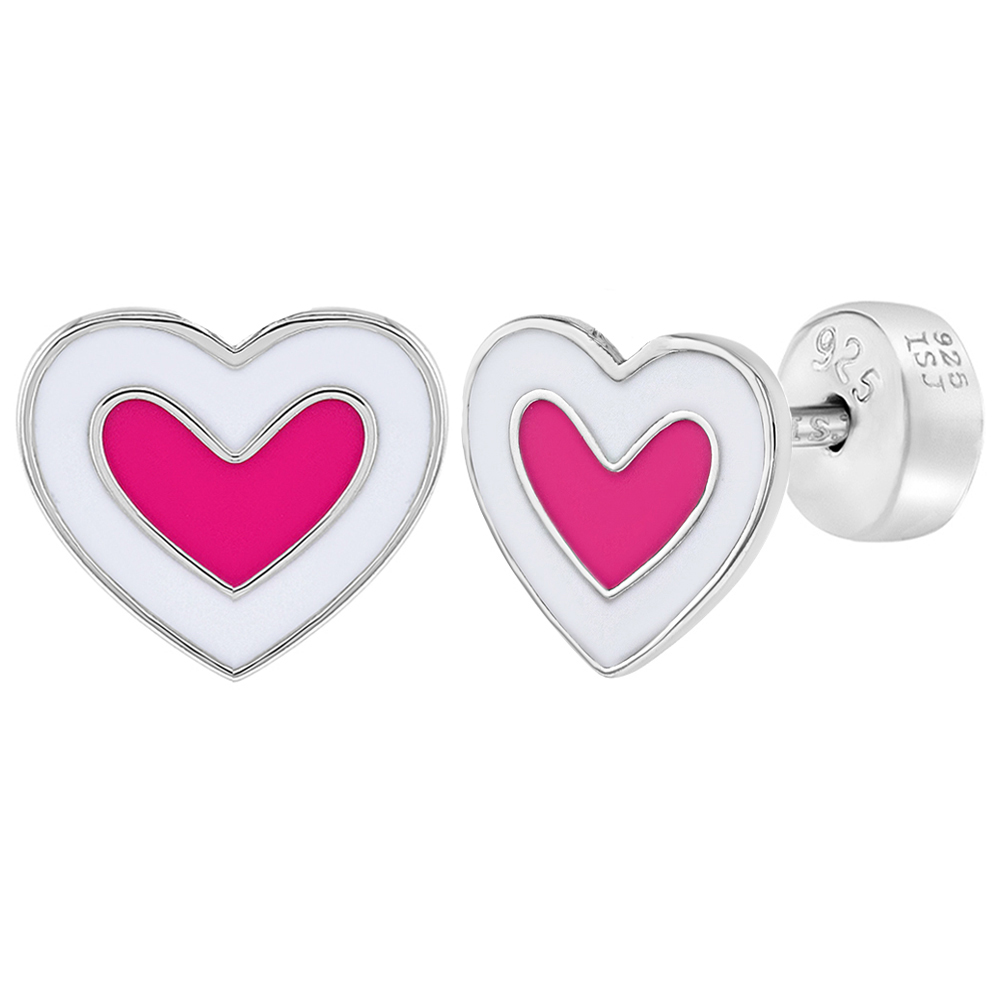 f8433ca5f Details about 925 Sterling Silver Pink White Enamel Heart Earrings Safety  Back Studs for Girls