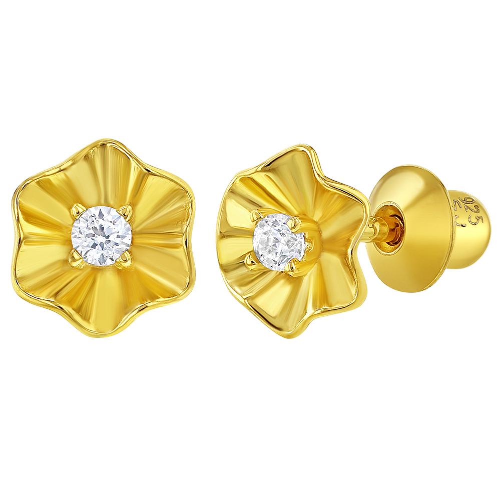 1a58c265d3ab 925 plata de ley oro brilló clara CZ flor minúscula tornillo posterior  pendientes chicas