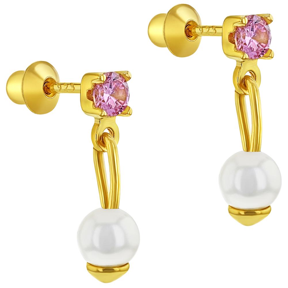 fe0e0dce3f1f 925 plata esterlina CZ rosa simulado perlas tornillo trasero chica  pendientes