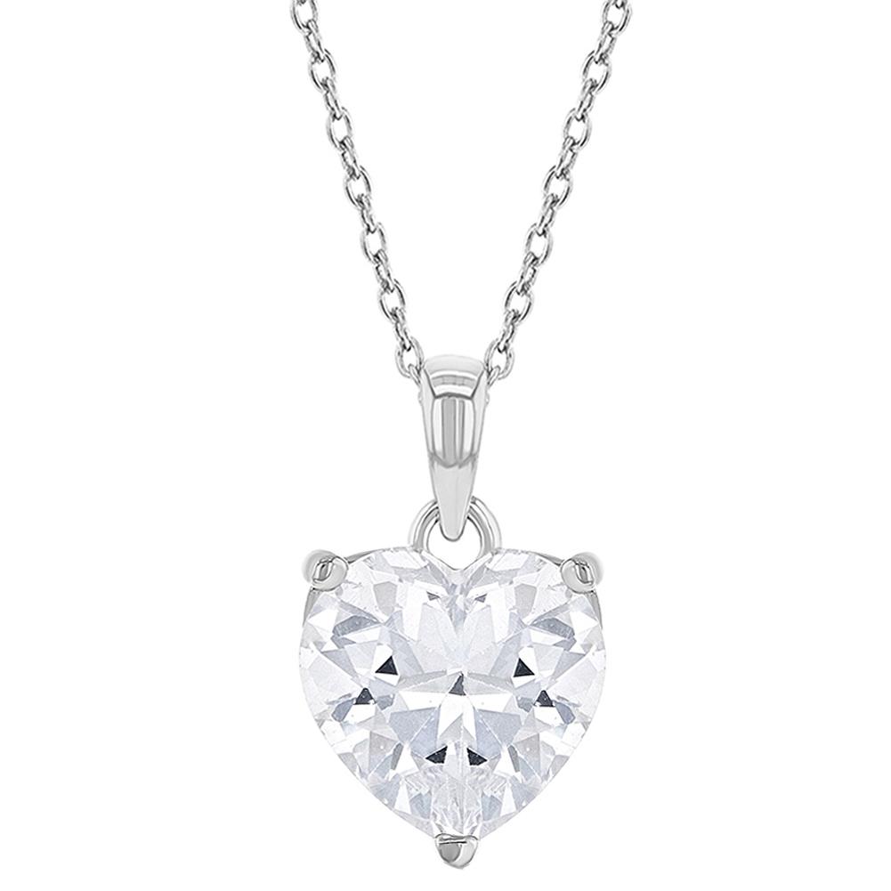 Sterling Silver Necklace w// CZ Stones Sweet 16 Heart Pendant