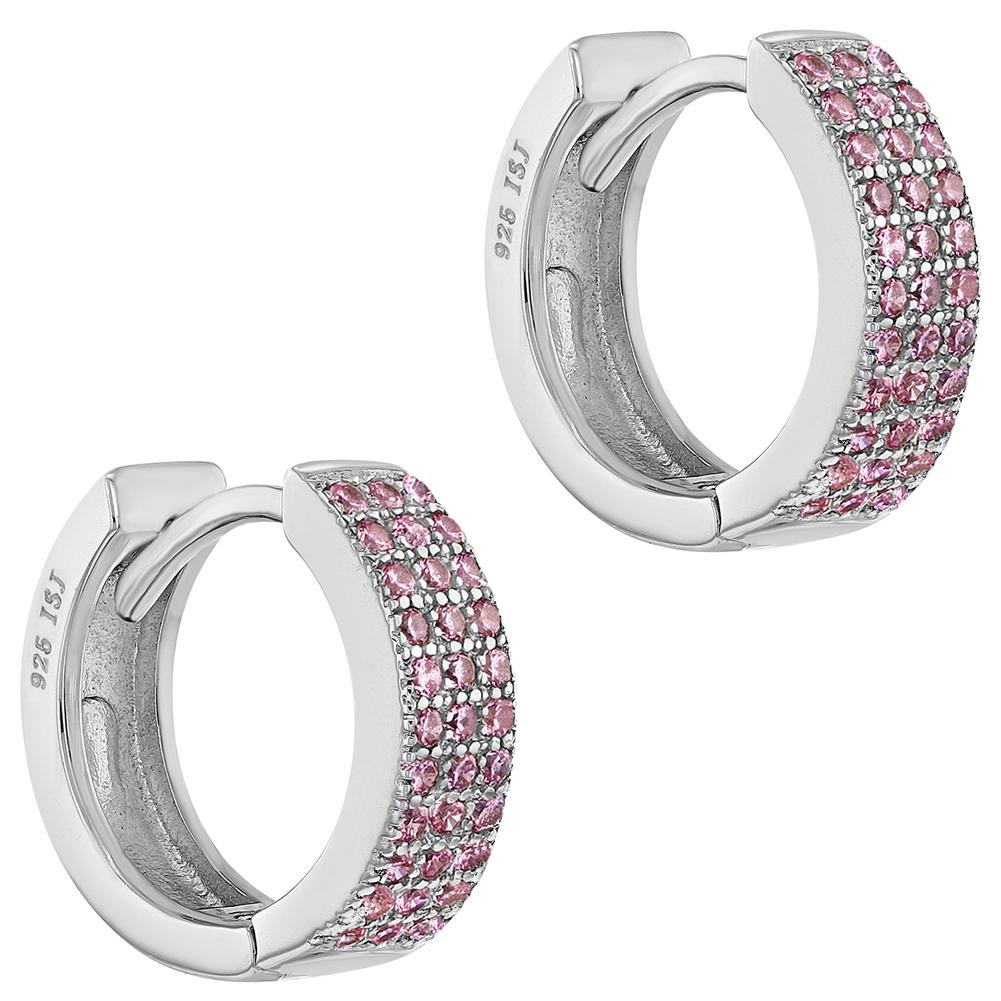 6a3c437083752 Details about 925 Sterling Silver Cubic Zirconia Huggie Hoop Earrings for  Teens or Women 0.51