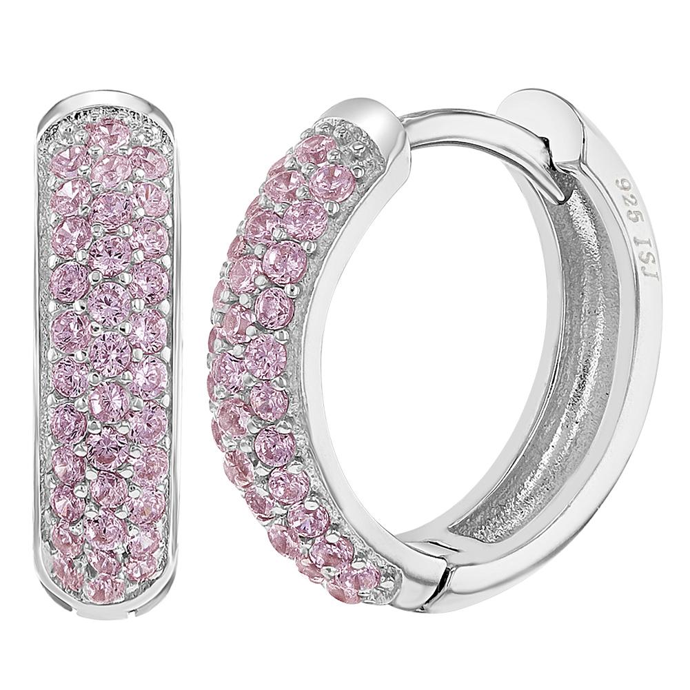 925-Sterling-Silver-Micro-Pave-CZ-Huggie-Hoop-Women-Earrings-0-55-034