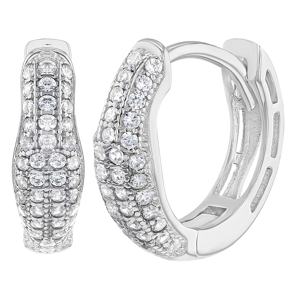 Details about 925 Sterling Silver Clear Cubic Zirconia Huggie Hoop Earrings  for Women 0.51