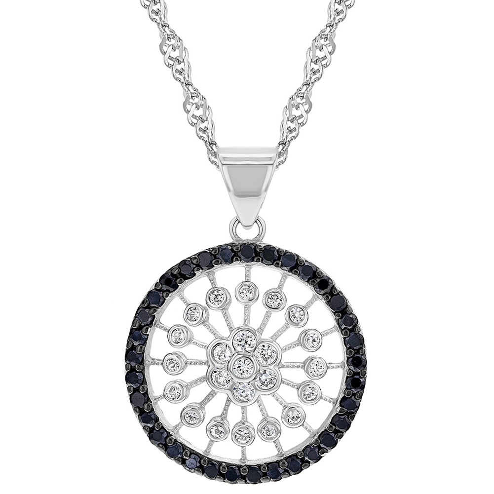 481a5b22a82 925 Sterling Silver Black & Clear CZ Round Women's Pendant Necklace 19