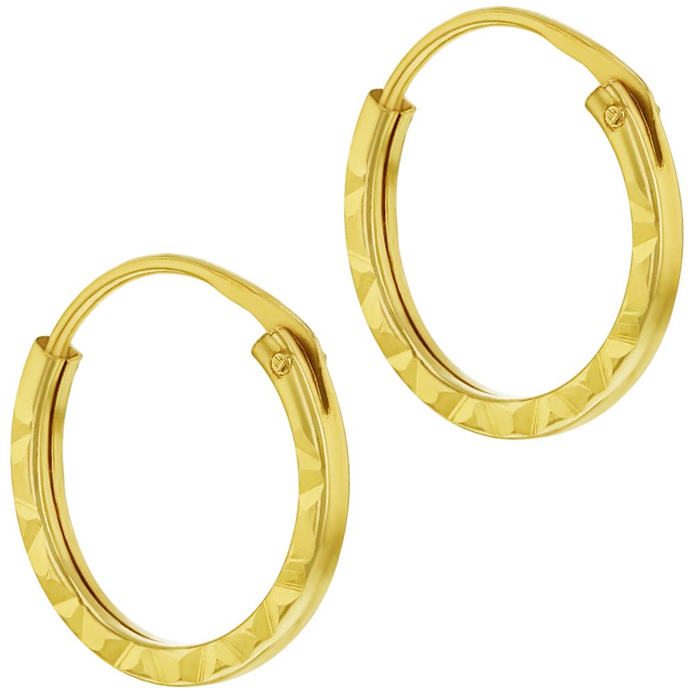 14k Oro Amarillo Pequeño Fino Eterno Aro Pendientes para Chicas